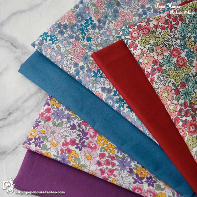 145x50cm sielankowe kwiatowe tkanina bawełniana ze splotu skośnego DIY odzież dziecięca tkaniny zrobić kołdra dekoracji domu 160-180g/m