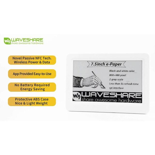 Waveshare papel electrónico pasivo alimentado por NFC de 7,5 pulgadas, sin batería, alimentación inalámbrica y transferencia de datosTablero de demostración