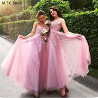 Dusty Pink Long Tulle Bridesmaid Dresses With Lace A Line Sleeveless Plus Size Wedding Guest Dress Wholesale Robe De Soiree