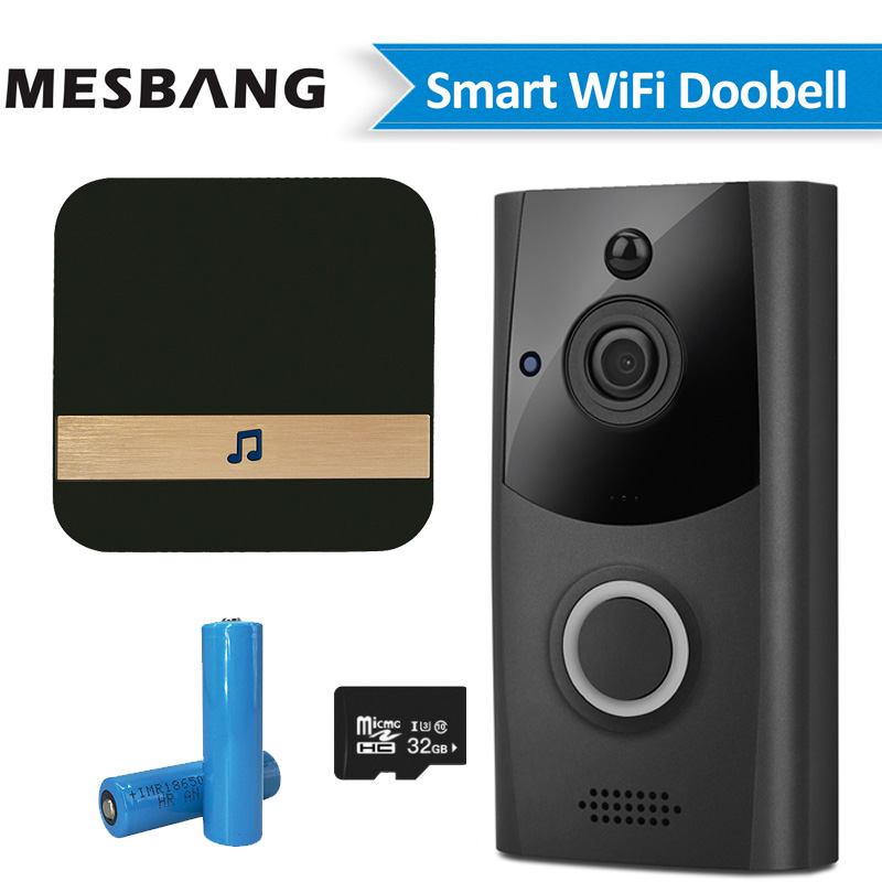 Wireless Video Doorbell Intercom Wifi Battery Power Door Bell Phone Camera Calling With TF Card Record Chime