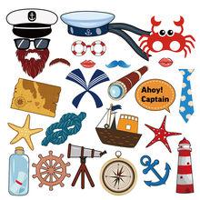 Accesorios náuticos de fotomatón para Celebración de bebé, decoración de fiesta de cumpleaños de capitán velero, recuerdo para niños, 25 uds.