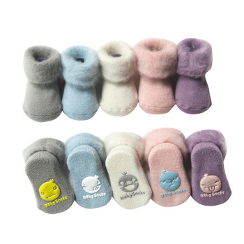 3pc Winter Thick Terry Baby Socks Warm Newborn Cotton Boys Girls Cute Toddler Socks Baby Accessories image