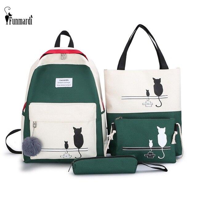 FUNMARDI 4 יח\סט Panelled נשים תרמיל בד חתול דפוס תיק בית ספר ילדה טלאי תרמיל נשי כתף תיק WLHB2065
