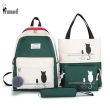 FUNMARDI 4 개/대 여자 패치 워크 배낭 여성 숄더 가방 wlhb2065에 대 한 패널 된 여자 배낭 캔버스 고양이 패턴 학교 가방