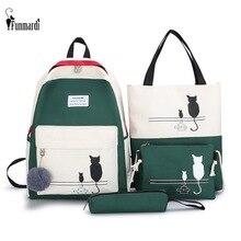 FUNMARDI 4 шт./компл. женский рюкзак с панелями, парусиновая школьная сумка с рисунком кота для девочек, лоскутный рюкзак, женская сумка на плечо, WLHB2065
