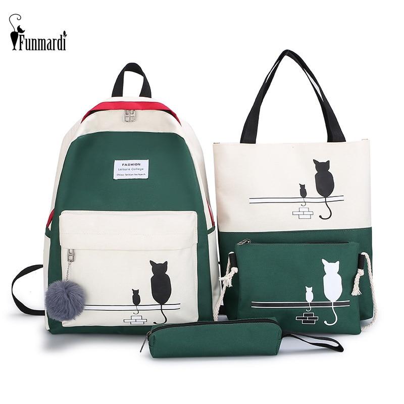 FUNMARDI 4Pcs/Set Panelled Women Backpack Canvas Cat Pattern School Bag For Girl Patchwork Backpack Female Shoulder Bag WLHB2065