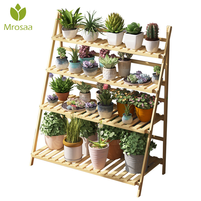 Mrosaa BambooWooden Plant Flower Floor Stand Shelves Rack Plant Flower Display Stand Shelf Storage Rack Outdoor Holder Garden