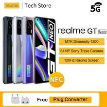 Orijinal realme GT neo 5G MTK Dimensity 1200 Smartphone 120Hz süper AMOLED ekran 50W flaş şarj Celular 64MP android telefon