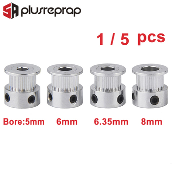 цена на 1PC/5PCS GT2 20 Teeth Timing Pulley Bore 5mm 6mm 6.35mm 8mm Shaft Alumium Pulley for 6mm Belt 3D Printer Parts
