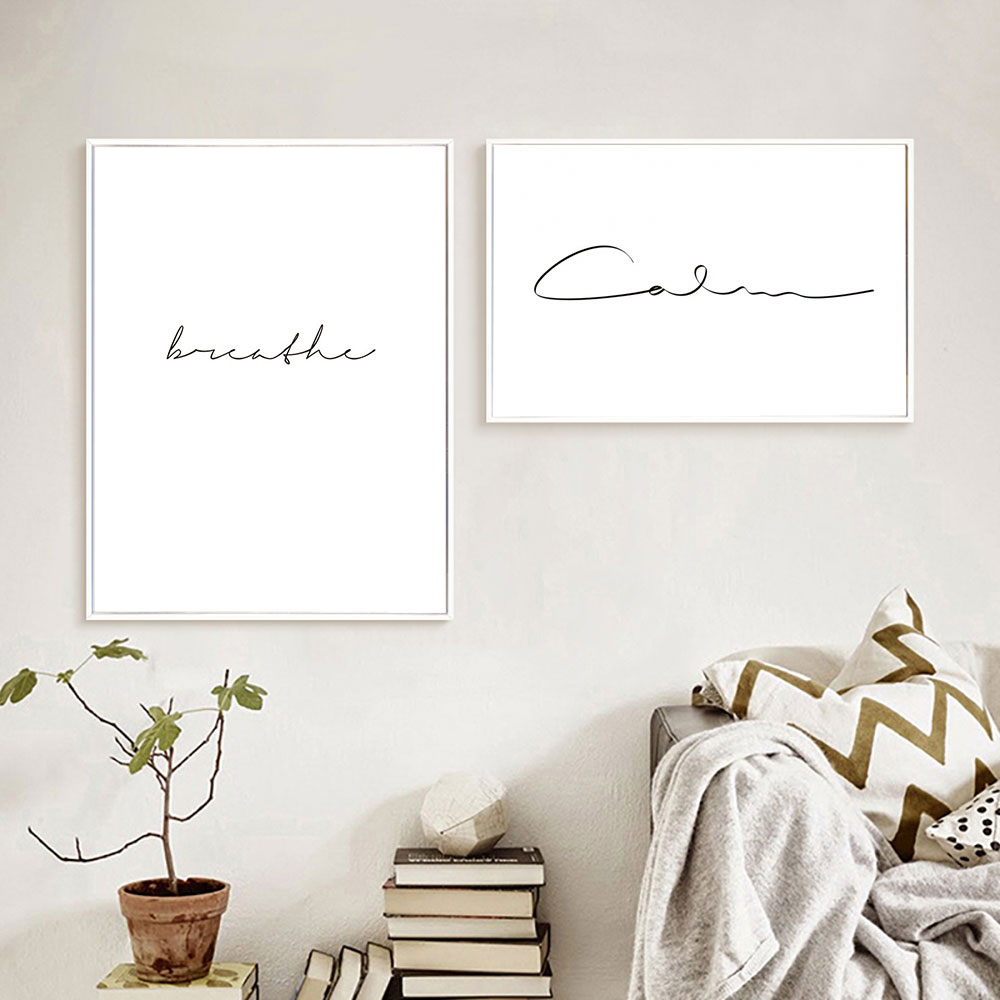 Breathe Canvas Poster Nordic Decoration Calm Words Wall Art Print Painting Decorative Picture Scandinavian Home Decor