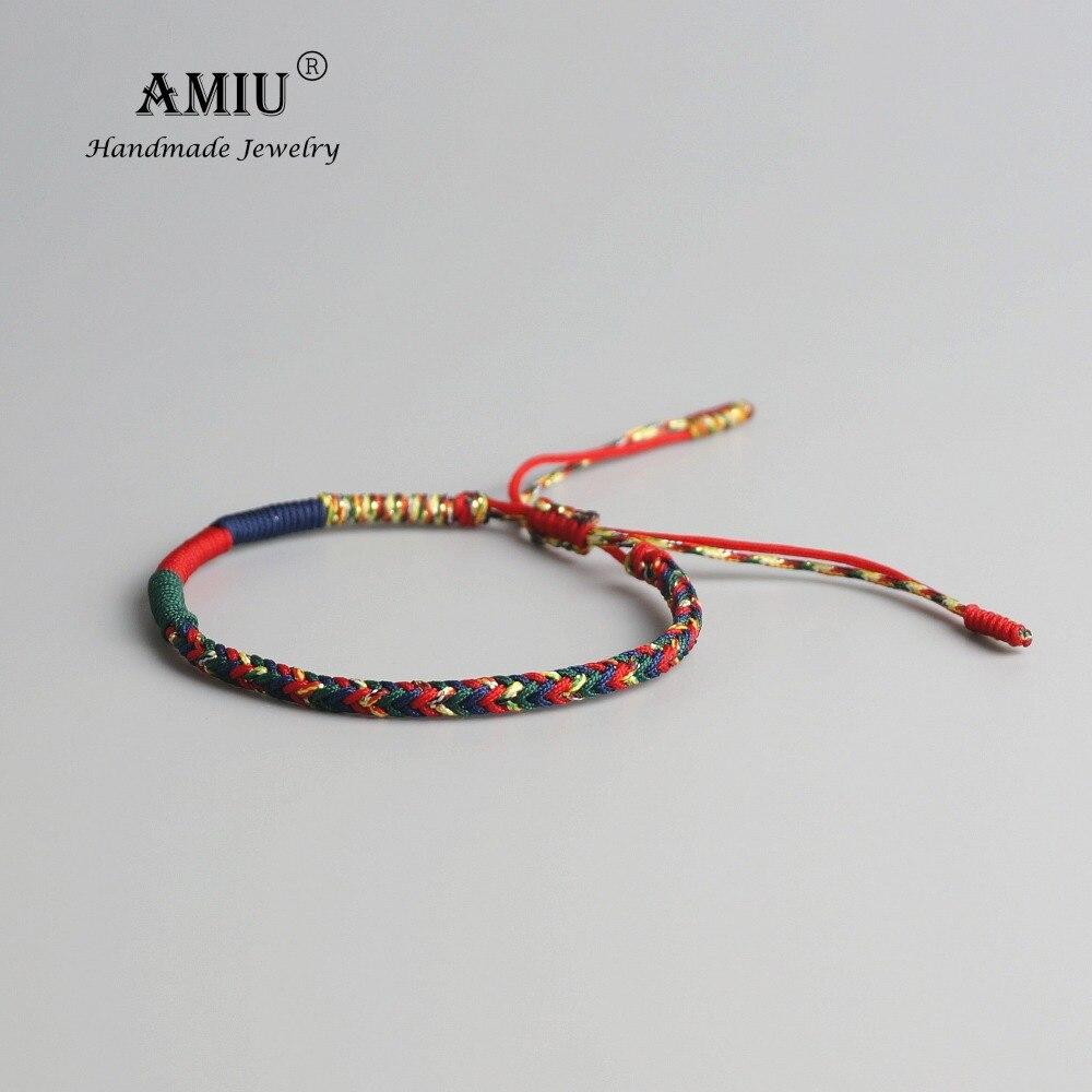 AMIU Tibetan Buddhist Lucky Charm Tibetan Bracelets & Bangles For Women Men Handmade Knots Green Rope Amulet Gift Bracelet