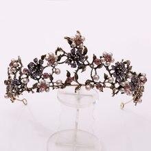 Barroco do vintage ouro cristal pavão nupcial tiaras cz coroas strass pageant diadem noiva headbands casamento acessórios de cabelo