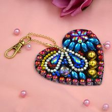5Pcs DIY Full Drill Special shaped Diamond Painting Key Chain Heart Jewelry R9UE