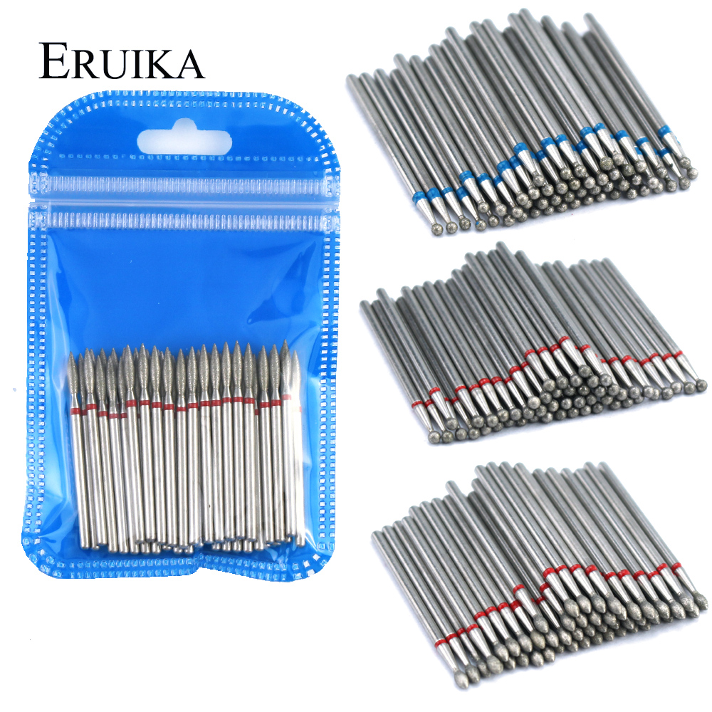 50pcs Diamond Nail Drill Bit For Electric Manicure Machine Accessories Nail Art Tools Polish Remover Mills Cutter Nail Files