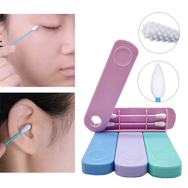 Dropship 1 Box=2Pcs Reusable Cotton Swab Double-headed Ear Cleansing Cosmetic Silicone Buds Swabs Sticks For Cleaning Makeup(China)