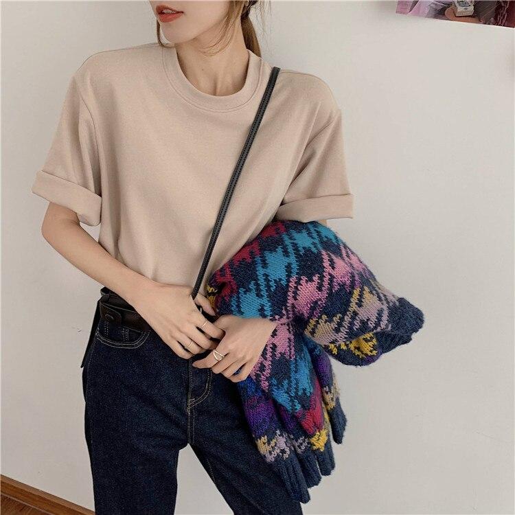 Hd6a336c2c29c460e8d36965205c6b7efX - Summer O-Neck Short Sleeves Cotton Basic Solid T-Shirt
