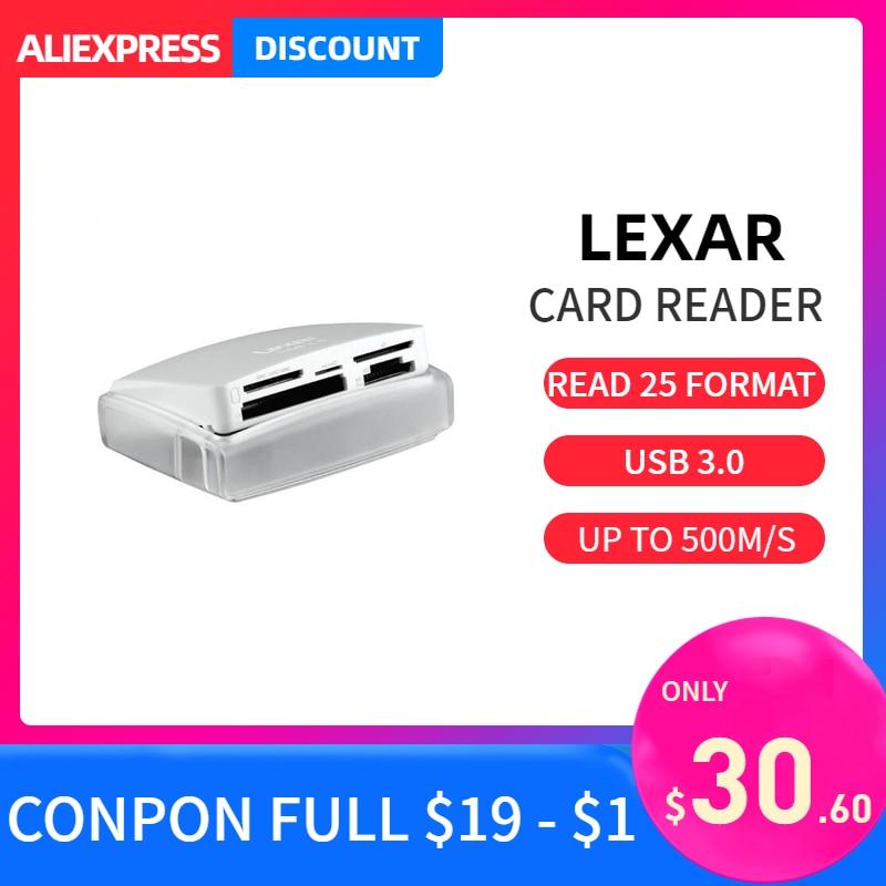 Lexar 25 en 1 Multi lecteur de carte à puce USB 3.0 haute vitesse jusqu'à 500 M/S compact tf carte sd carte cf lecteur de carte pour caméra pour ordinateur portable
