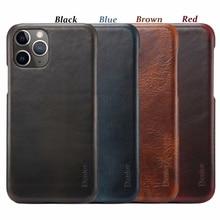 Lujosa carcasa trasera retro de cuero con cera de aceite para teléfono móvil iPhone 7 8Plus X XR XS MAX 11 11Pro MAX carcasa para teléfono móvil