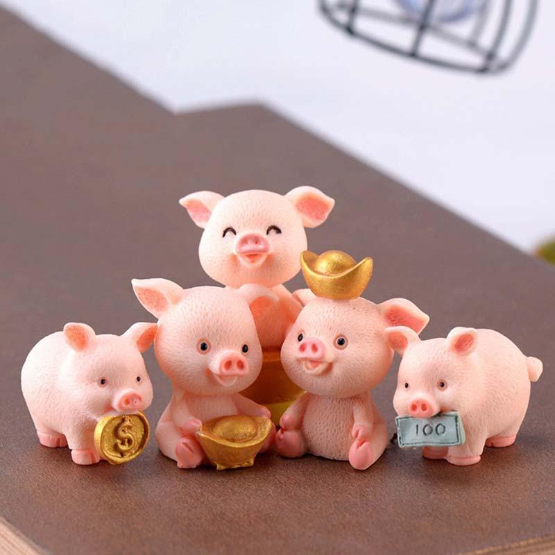 かわいい幸運豚樹脂ミニチュア工芸品クリスマスペンダントラッキーpiggiesケーキトッパー装飾diyマイクロ風景新年2021