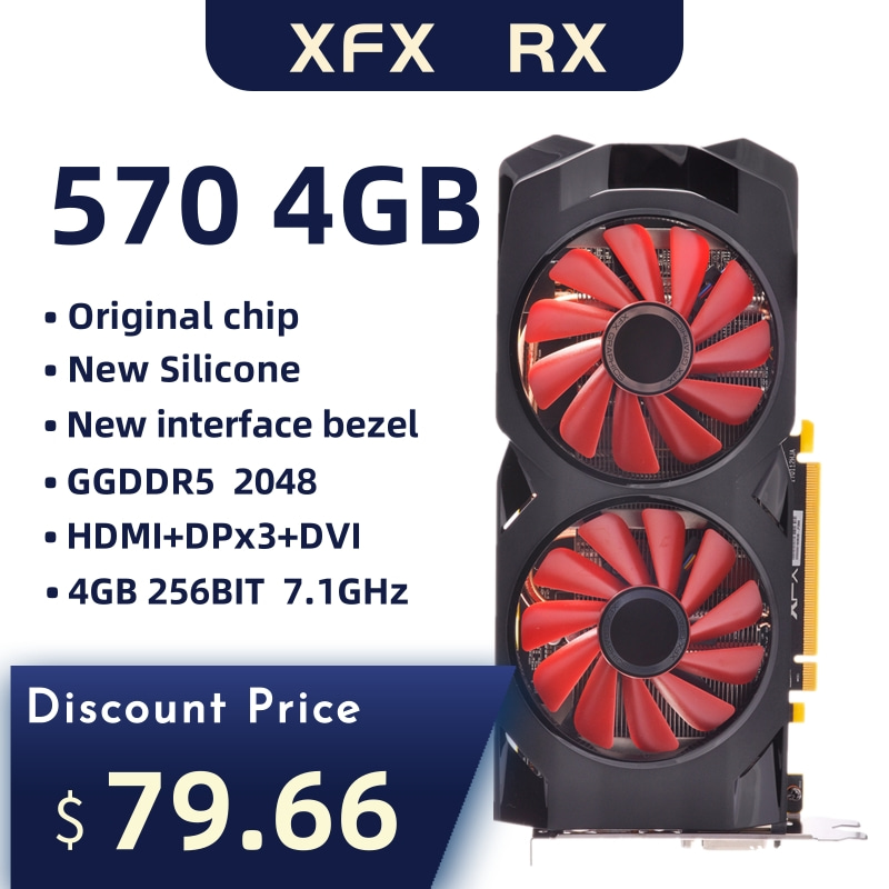 Used Xfx 570 4g 256bit GDDR5 Desktop Xfx Graphics Cards Video Card  Amd Rx 570 4gb Rx 570 Radeon Rx 570 Video Card 4gb