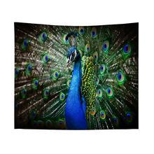 купить 1pcs Peacock Pattern Polyester Tapestry Wall Hanging Cloth Art Carpet Wall Tapestry Home Textile Home Decor 130x150cm 150x200cm по цене 691.04 рублей