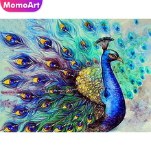 MomoArt Diamond Painting Peacock Mosaic Animal Diy Embroidery Full Square Home Decoration Gift