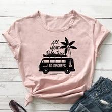 Tout sur les palmiers et T-shirt à 80 degrés pour femme, haut de plage Vintage, esthétique, graphique, cadeau de vacances d'été