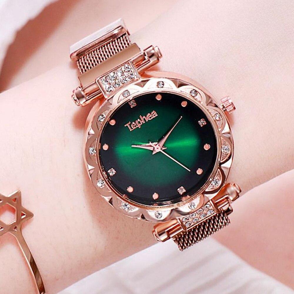 Роскошные женские часы с бриллиантами, розовое золото, звездное небо, модные женские часы, женские кварцевые наручные часы, 2019, для молодых д...