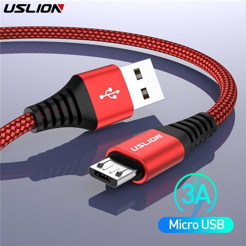USLION 3A Cable Micro USB de carga rápida Cable de datos USB Cable para Samsung Xiaomi Redmi Note 4 5 Android Microusb Cable de carga rápida