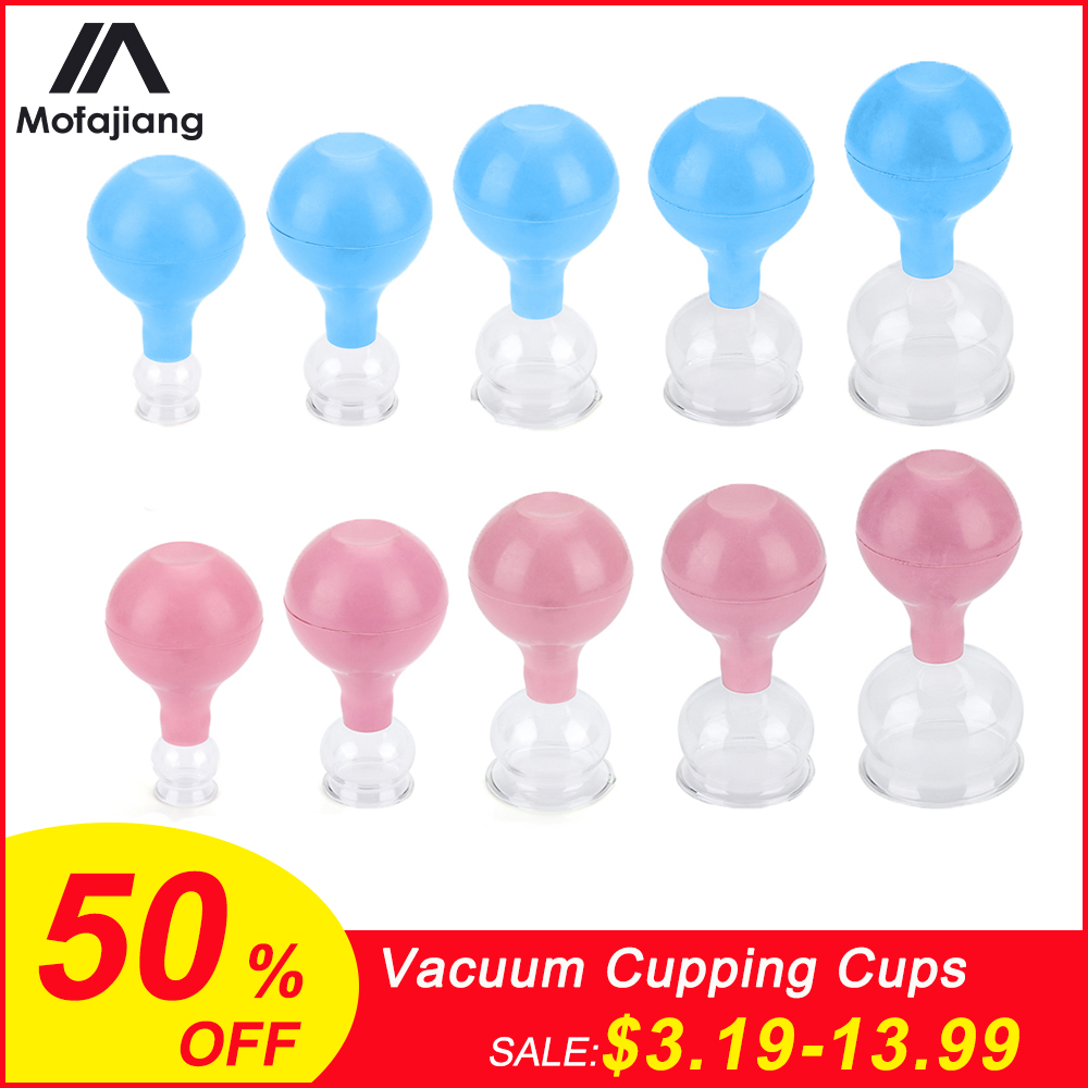 1pc/5pcs  Vacuum Cupping Body Massage Medical Rubber Head Glass Cupping Cups Anti Cellulite Body Massage Health Care Tools