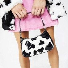 Vintage PU Leather Women Baguette Handbags Fashion Milk Cow Pattern Ladies Underarm Shoulder Bags Girls Cute Purse Bolso Mujer