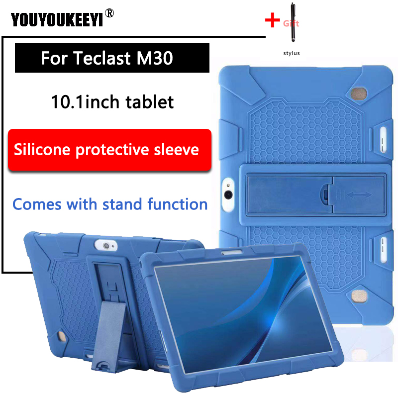 Wivarra Funda de Silicona para Teclast M30 M30 Pro Funda Protectora para Tableta de 10.1 Pulgadas Soporte para Tableta con Correa y Bol/íGrafo Morado