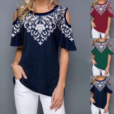 2020 New Style EBay <font><b>Amazon</b></font> Eight <font><b>Code</b></font> Crew Neck Printed off-the-Shoulder Short Sleeve T-shirt image