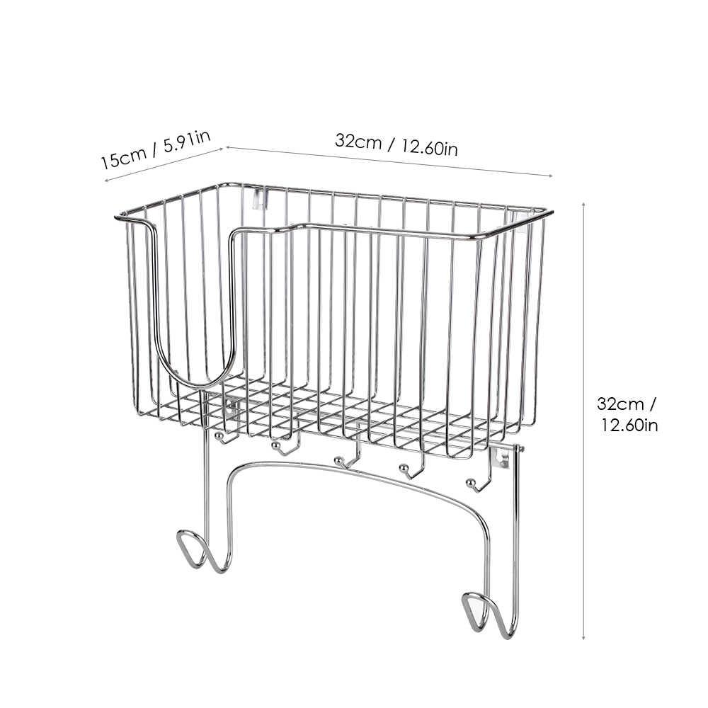 קיר רכוב גיהוץ לוח מחזיק ברזל עם ווים אחסון סל להחזקת ברזל וגיהוץ לוח בית ארגונית