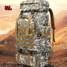 80L outdoor large capacity mountaineering bag military camouflage tactical backpack suitable for camping hunting adventure tent