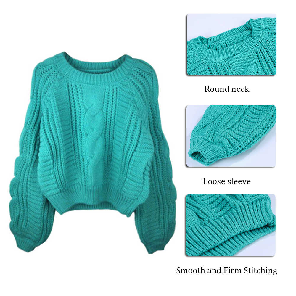 Frauen Ziehen O Neck Pullover 2020 Pullover Frauen Pullover Jumper Candy Farbe Harajuku Chic Kurze Pullover Twisted Pull Mädchen