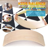 32 Inch Kids Wooden Curved Balance Board Toddler Children Fitness Bridge Seesaw Toys Twist Board Indoor Outdoor Fun Sports Toy
