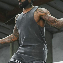 Tank-Top Fitness Clothing Muscle-Shirt No-Ironing Cotton Washed Not-Deformed Men High-Quality