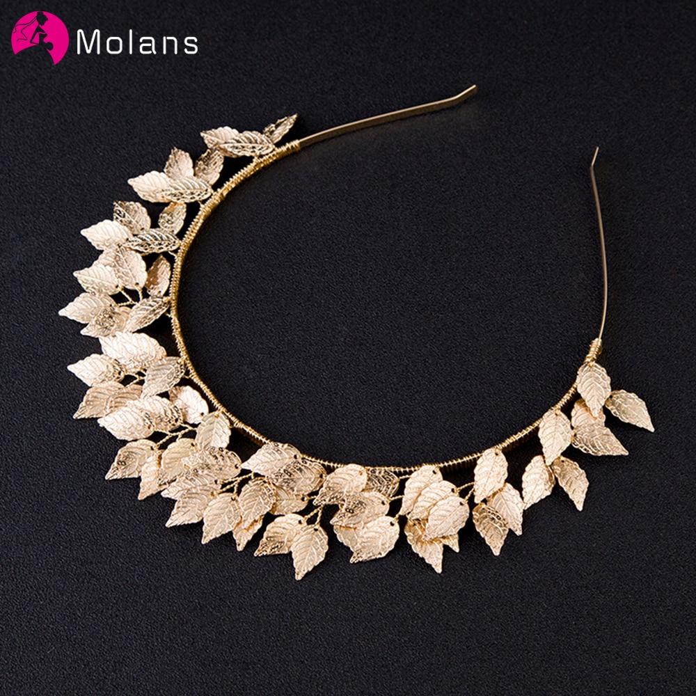 Molans Boutique Metal Bride Hair Hoop Bands European Wedding Gold/Silver Leaf Headband Ornament Brides Headwear Accessories