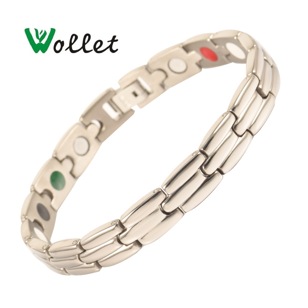 Wollet Jewelry 5 in 1 Bio Magnetic Titanium Bracelet For Women Silver Color Health Care Healing Energy Magnet Germanium