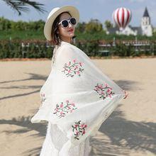 Национальный женский шелковый шарф хиджаб роскошный с цветочной