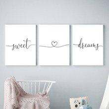 Минималистичная черно-белая Милая мечта цитаты сердце любовь холст картина постеры для детской печать Настенная картина для спальни