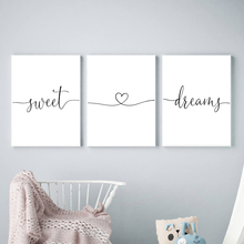 Minimalist Black and White Sweet Dreams Quotes Heart Love Canvas Painting Nursery Posters