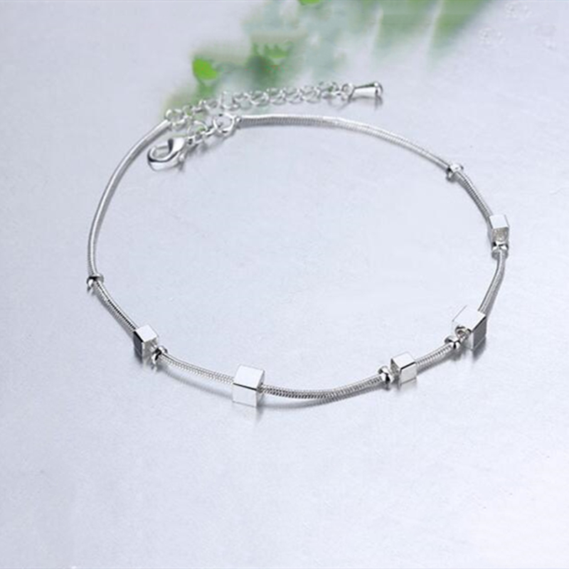New Foot Anklet 925 Sterling Ladies Silver Anklets Bracelet Chain For Women Square Pendant Foot Pulseras Jewelry Package Mail