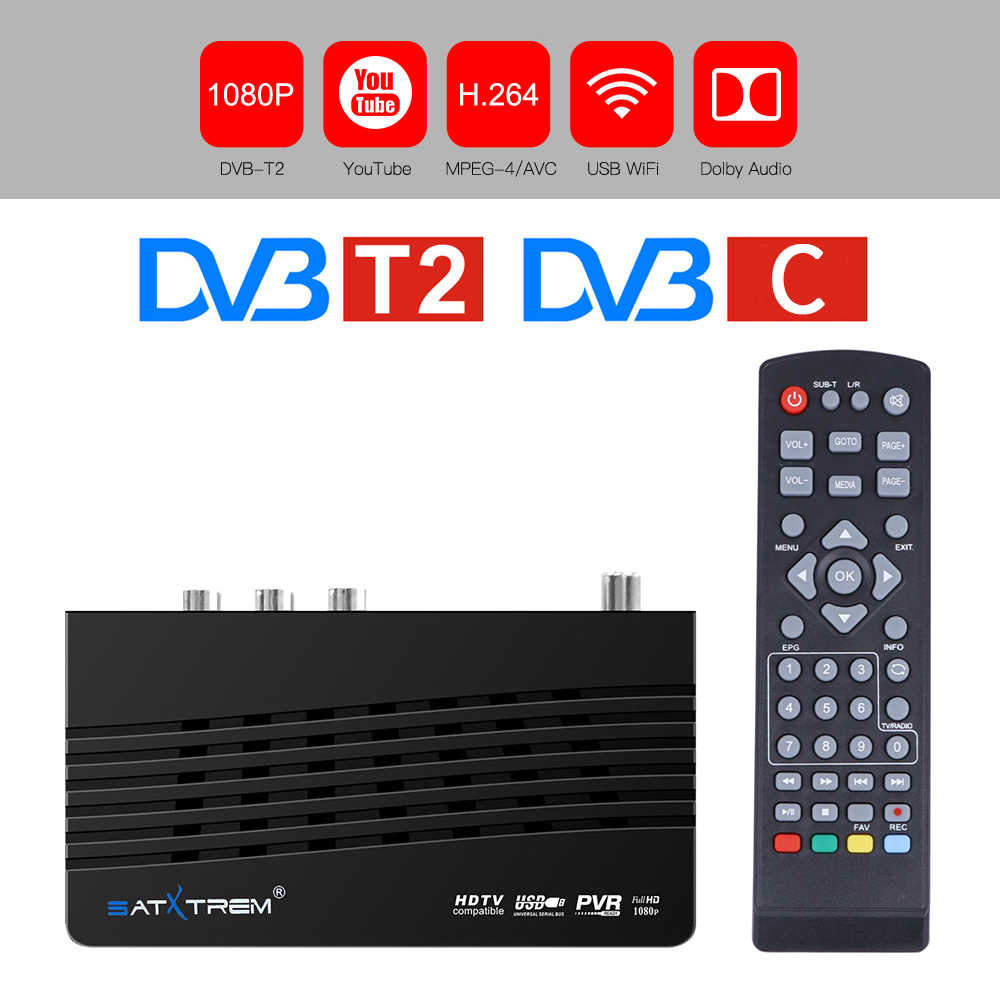DVB-T2/Dvb-t Digital TV Tuner TDT TV Reseptor Receiver HD DVB T2 H.264 AC3 YouTube PVR DVB-C WIFI Receiver FTA Set-Top Box DVBT2