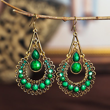 Ethnic Bohemian Earrings For Women Vintage Water Drop Shape Hollow Out Carved Resin Gem Statement Earrings