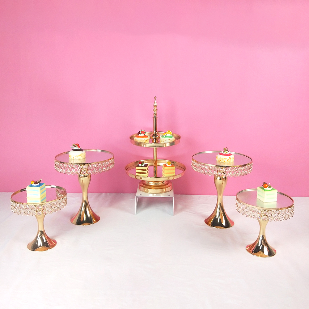5 stücke kommen Gold Kristall kuchen ständer set Galvanik gold spiegel gesicht fondant cupcake süße tabelle candy bar tisch dekorieren-in Ständer aus Heim und Garten bei  Gruppe 2