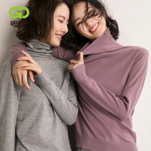 GOPLUS 2019 Autumn Knitted Womens Sweater Heaps Collar Turtleneck Soft Warm Long Sleeve Jumper Pull Femme
