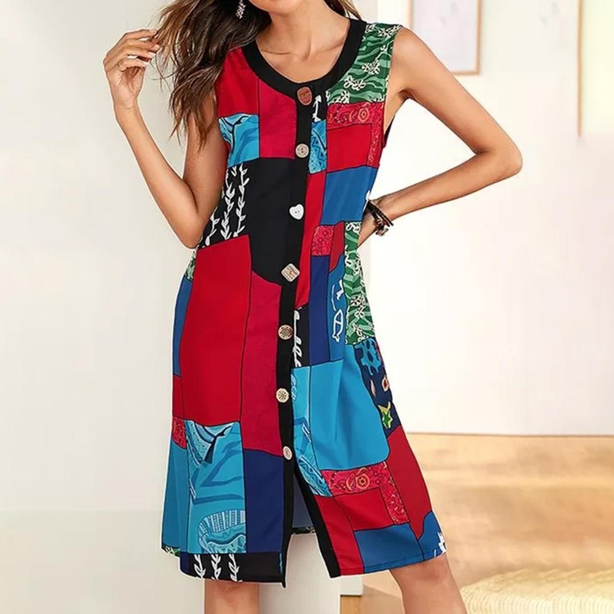 Geometry Print Mini Dress Women O Collar Sleeveles Above Knee Dress Summer Autumn 2020 Casual Chic Simple Vestidos Female