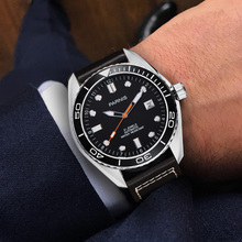 Parnis 43mm Automatic Mechanical Watch Men Ceramic Bezel 5ATM Luxury Busines Sapphire Waterproof Diver Calendar Wristwatch Men